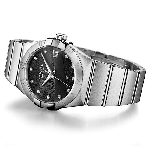 - ROCOS Men's Automatic Mechanical Watch Sapphire Analog Stainless Steel Wrist Watches for Men Casual Business Luxury Waterproof Dress Watch with Calendar #R1101 (Silver & Black)