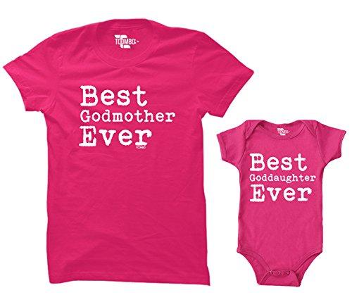Best Godmother/Best Goddaughter Ever Matching Bodysuit & Women's T-Shirt (Pink/Hot Pink, Medium/6 Months)