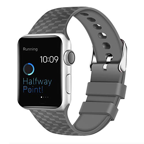 Panrock Compatible with Apple Watch Band 38mm 42mm Series 3/2/1,40mm 44mm Series 4, Soft Silicone Sports Fan Replacement iwatch Bands for Women Men (Gray, 38MM)