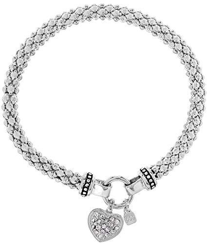 Nine West Pave Heart Charm Stretch Bracelet One Size Silver Tone/Clear ()
