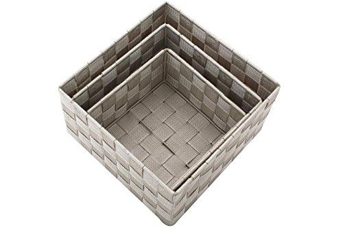 3 tlg Deko Korb Set taupe silk Ribbon quadratisch Dekoration