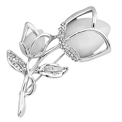 JewelryHouse Pink Rose Flower Brooch Imitation Crystal Fancy Brooch for Women (White)