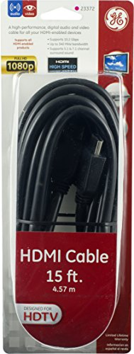 030878233729 - GE 15 ft.  High Speed HDMI Cable, Black, 1080P Full HD, 23372 carousel main 3