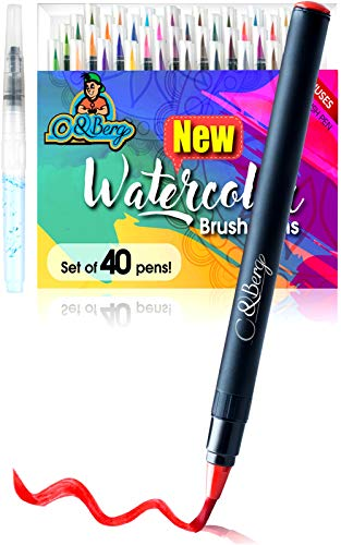 - 40 Watercolor Brush Pens Soft Flexible Tip - Watercolor Paint Markers for Adult Coloring Books, Painting, Drawing, Coloring, Non Toxic Watercolor Paint, Set of 40 Watercolor Pens by C&Berg Model 2019