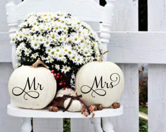 Mr and Mrs Pumpkin Decals Small Decals Set of Two Wedding Decals DIY Wedding Decor Fall Wedding Decor Fall Decor Mr Decal Mrs Decal Pumpkin DDecals