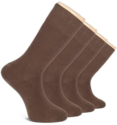 - Hugh Ugoli Men's Dress Crew Socks Seamless Cotton Casual Business 4 Pairs (Brown)