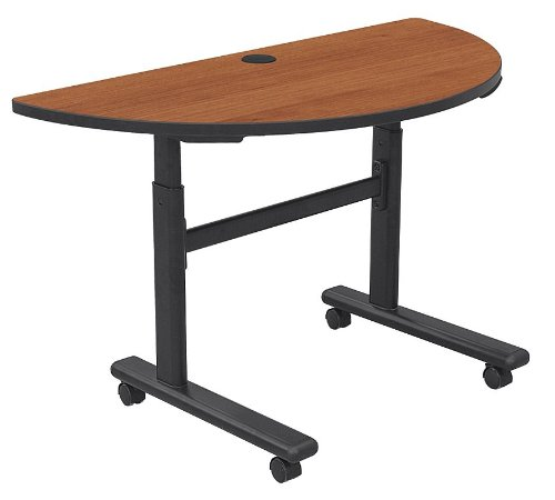 Height Adjustable Half-Round Flipper Training Table Color: Amber Cherry ()