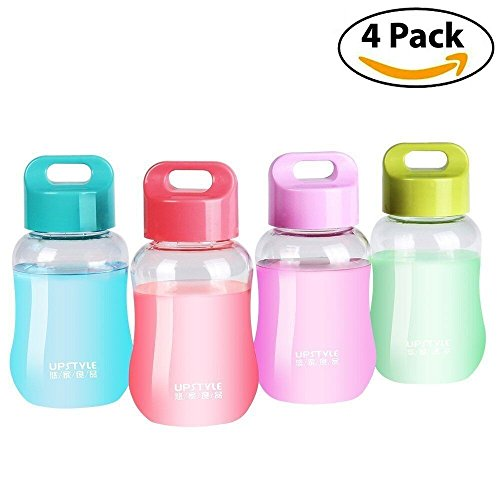 UPSTYLE 6oz Mini Small Plastic Juice Travel Mugs Wide Mouth Portable Sports Water Bottles for kids Milk/Coffee/Tea Cups also Kitchen Small Storage Bottles just 180ml (4 (Small Juice Bottles)