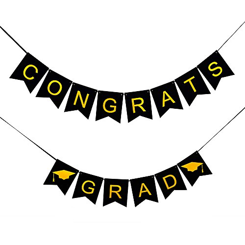 AHAYA Graduation Banner, CONGRATS GRAD 2018 Graduation Party Decorations, Gold and Black Graduation Party Supplies. Free Printable Graduation Party Planning Checklist. NO ASSEMBLY REQUIRED!