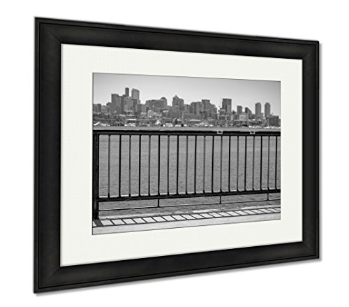 Ashley Framed Prints Sun Over Downtown Seattle With Elliott Bay And A Guard Rail In The Foreground, Modern Room Accent Piece, Black/White, 34x40 (frame size), Black Frame, - Of Guardrails Pictures