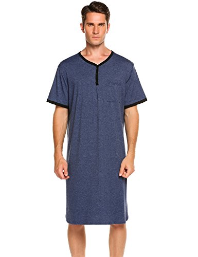 Ekouaer Men's Sleepwear Cotton Nightwear Kaftan Nightshirt (Blue, X-Large) by Ekouaer