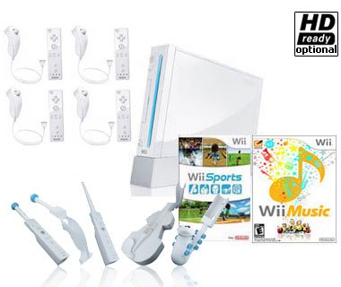 Nintendo Wii System 2 Player Bundle with Wii Sports (Brand New) + Wii Music