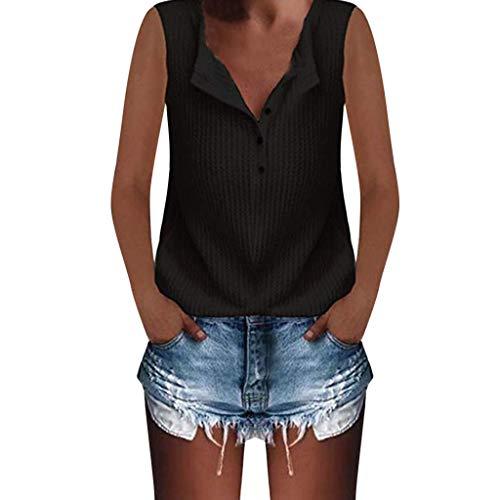 Tank Tops for Women,Chaofanjiancai Waffle Knit Tunic Tops Loose Long Sleeve Button Up V Neck Henley Shirts
