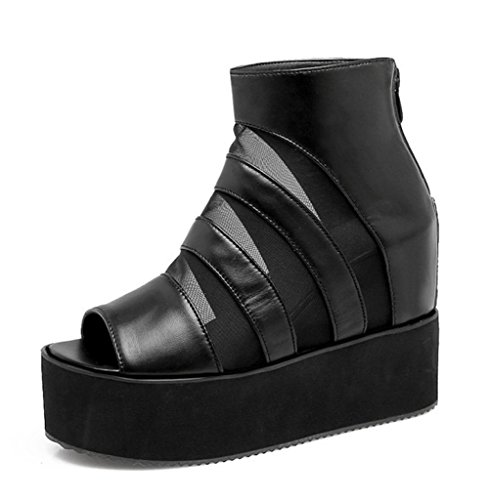 Easemax Womens Trendy Mesh Stitching Zipper Peep Toe Platform Height Hidden Heel Boot Sandals Black asQz411lZ