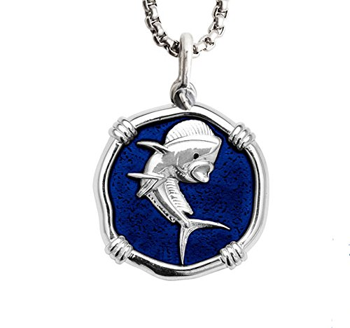 Guy Harvey Dolphinfish Medallion in Sterling Silver on a Stainless Steel Necklace Chain