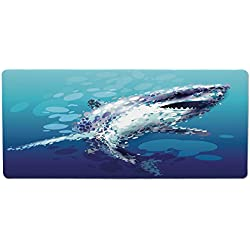 iPrint Pet Mat for Food and Water,Sea Animal Decor,Digital Made Psychedelic Shark Figure with Droplets Scary Atlantic Beast,Blue Grey,Rectangle Non-Slip Rubber Mat for Dogs and Cats