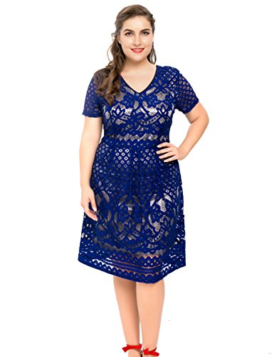 Chicwe Women's Plus Size Lined Floral Lace Skater Dress – Knee Length Casual Party Cocktail Dress 2X Blue