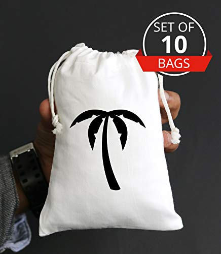 Destination Wedding Favors Welcome Bags-Palm Tree Favor Beach Wedding Muslin Bags-Bridesmaid Bachelorette Party Drawstring high Quality Cotton Goodie Favors-Set of 10 Bags