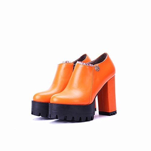Carolbar Women's Modern Western Platform Block Heel Zip Ankle Boots Orange NYeSmq5RB