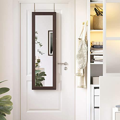 SONGMICS 6 LEDs Mirror Jewelry Cabinet Lockable 47.2″ H Wall/Door Mounted Jewelry Armoire Organizer, 2 Drawers, Dark Brown UJJC93K