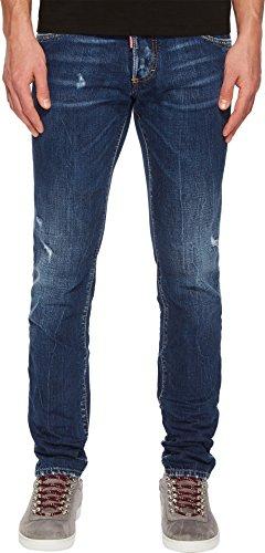 Dsquared2 Men Pants (DSQUARED2 Men's Dark Semplice Wash Slim Jeans Navy 52)