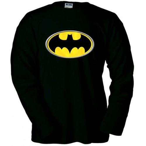 Camiseta logo Batman manga larga (Reliev) (Talla: Talla M Unisex Ancho/Largo [53cm/72cm] Aprox]) Mx Games