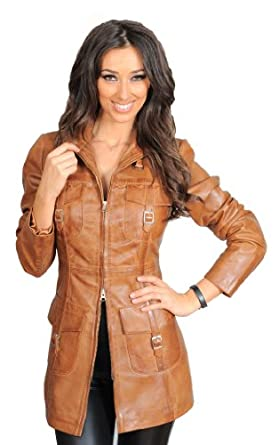 Womens 3/4 Fitted Real Leather Coat Ladies Jacket Carol Tan at