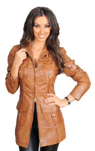 Womens Latest 3/4 Fitted Real Leather Coat Trendy Zip Up Jacket Carol Tan (Small)