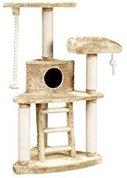 Whisker World Tri-Level Jungle Gym Cat Furniture, Beige Plush