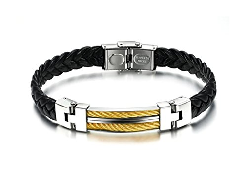 ZX Jewelry Stainless Steel Mens Black Braid Leather Bracelet Yellow Cable Inlay Bangle