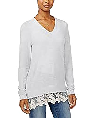 Miss Chievous Womens Juniors Marled Lace-Hem Pullover Top Gray M
