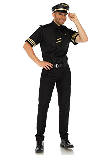 Amazing Couple Costumes (Leg Avenue Men's 3 Pc Pilot Costume, Black, LARGE)