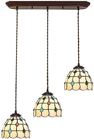 DALUXE Estilo Tiffany decoración Perlas de Vidrio Retro Pendiente de la lámpara Abat Techo lámparas de la Sala de Estar, E27 X3