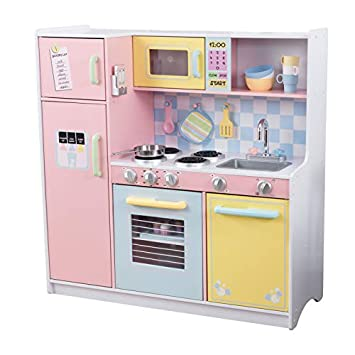 Kidkraft 53181 Large Pastel Wooden Pretend Play Toy Kitchen For Kids With Role Play Accessories Included
