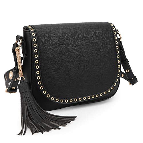 Tassel Grommets Crossbody Bags for Women Designer Shoulder Purses Vegan Leather Messenger Bag