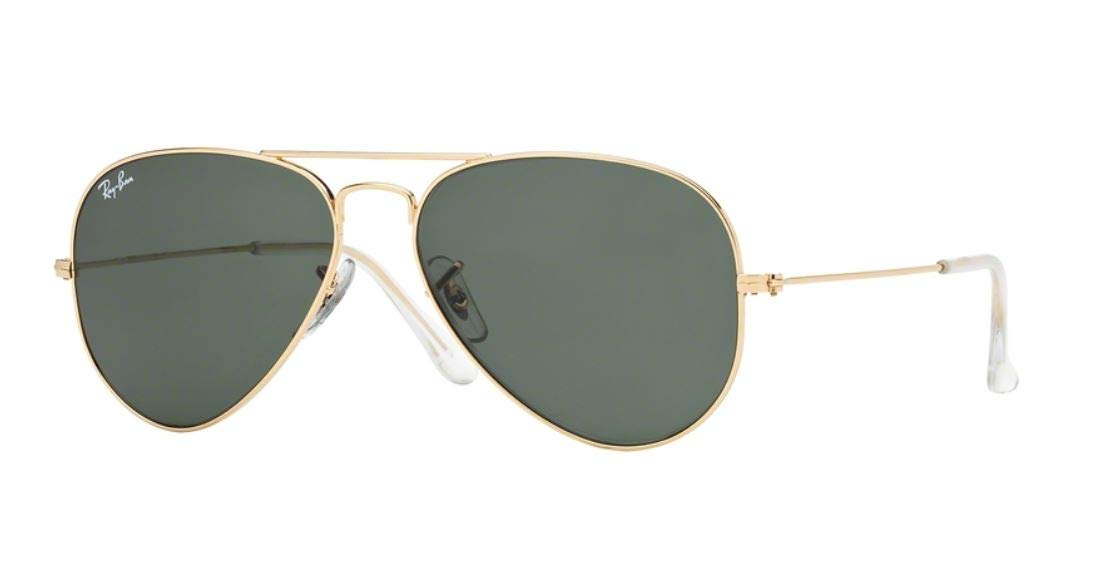 Ray Ban RB3025 AVIATOR LARGE METAL W3234 55M Gold/Gray Green Sunglasses For Men For Women by Ray-Ban
