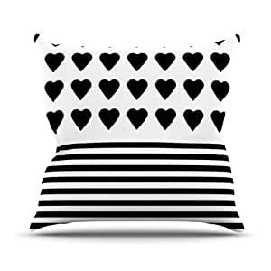Kess InHouse Emeline Tate Robertson 'Heart Stripes Black and White Projectm' Outdoor Throw Pillow, 16 by 16-Inch