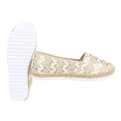 Ital-Design Slipper Damenschuhe Low-Top Moderne Halbschuhe Beige Gold 6503-BL
