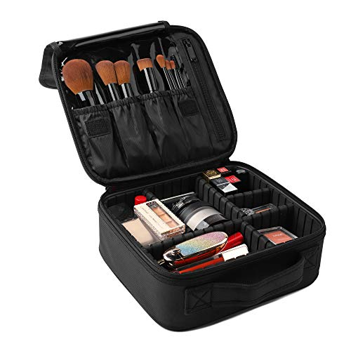 Awekris Travel Makeup Case, Professional Cosmetic Bag, Portable Storage Bag with Adjustable Dividers for Cosmetics Make Up Brushes Tools Toiletry Jewelry