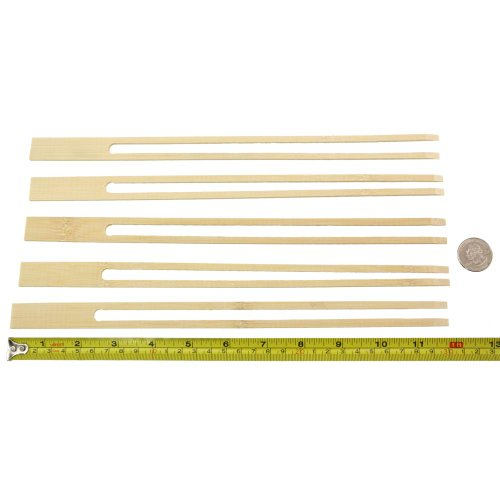 BambooMN 18mm Wide Bamboo Double Prong Fondue Sticks Barbecue Grilling Kabob Skewers, 11.8'' Long, 300 Pieces by BambooMN