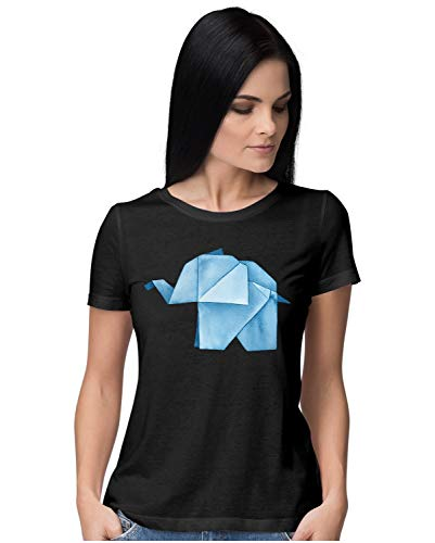 Heybroh Women's Regular Fit T-Shirt Origami Elephant in Water Colour 100% Cotton T-Shirt