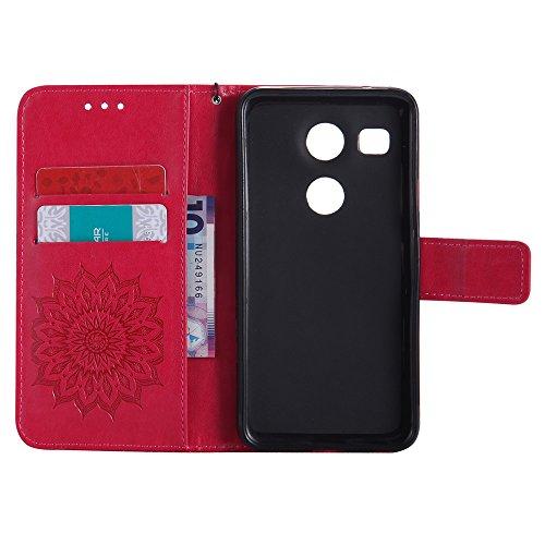 SRY-case Para el caso del LG Nexus 5x, con el acollador, ranura para tarjeta, soporte, hebilla magnética Sun Flower Flat Open Phone Shell ( Color : Pink ) Red