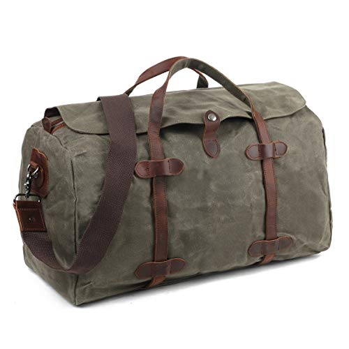 5348f5d3fa SOAEON Travel Duffel Bag Waterproof Canvas Leather Trim Oversized Tote  Luggage Handbag Army Green