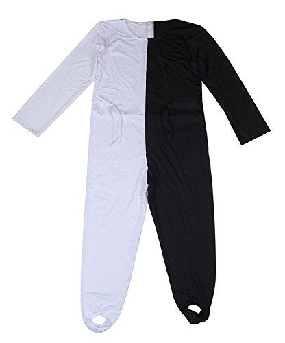 Youtei Black and White Optical illusion tights dance costume (6.0feet(185cm), White and Black) (Illusion White)