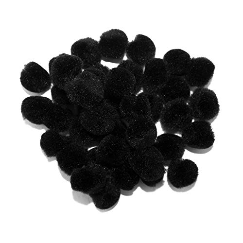 0.75 inch Black Mini Craft Pom Poms 100 Pieces ()