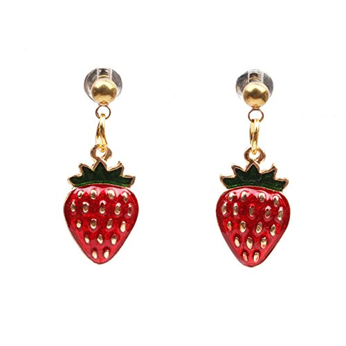 18K Gold Plated Vintage 3D Green Leaf Red Strawberry Charm Drop Stud Earrings