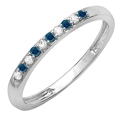 Dazzlingrock Collection 0.14 Carat (ctw) 10K Round Blue & White Diamond Ladies Wedding Band Ring, White Gold, Size 6.5 (Band Round Wedding Diamond)
