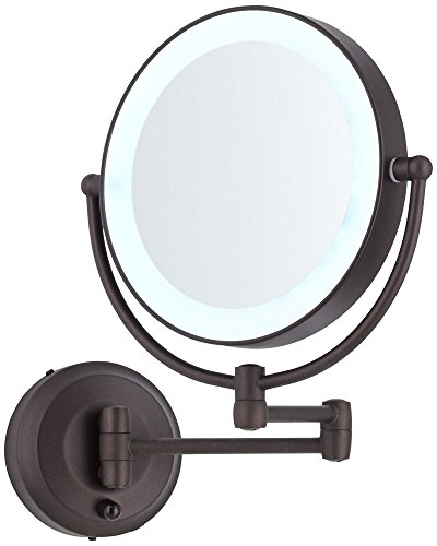 """Zadro Cordless LED Pivoting 9"""" Wide Oil-Rubbed Bronze Wall Mount Mirror"""