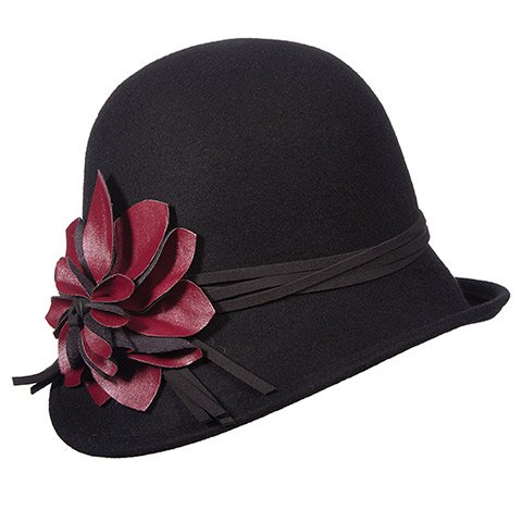 SCALA Collezione Wool Felt Cloche with Faux Leather Flower (Black)