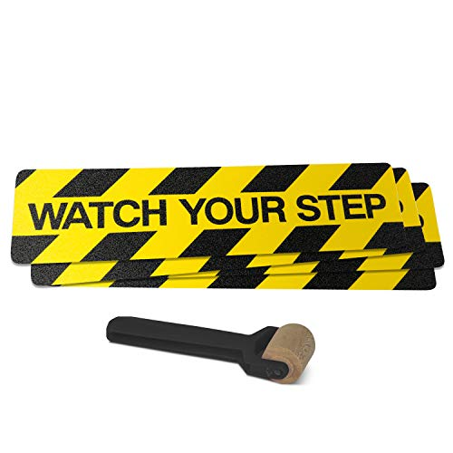 Black/Yellow Non-Slip Warning Stair Treads, Watch Your Step - 4 Pack. Indoor/Outdoor, 80 Grit Commercial Grade Anti-Skid Texture. 6in X 24in, Roller Included. (Watch Your Step, 4 Pack)